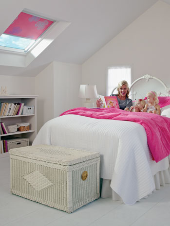 bedroom skylights with remote shades